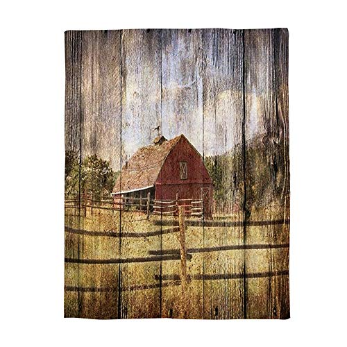 Farm Throw - Super Soft Fleece Throw Blanket, Farm House Picture on Vintage Wood Country Style 40