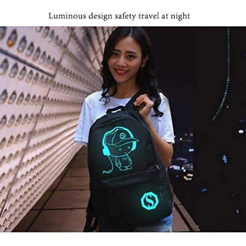Unisex Casual Fashion Waterproof Luminous Anime Notebook Laptop Backpack Anti-theft School Bag with USB Charging Port Daypack Shoulder School Bag (Black)