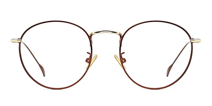 f027bb56ff TIJN Retro Round Thin Metal Frame Clear Lens Gold Rim Eyeglasses For Women  (Brown)(Size M)  Amazon.co.uk  Clothing