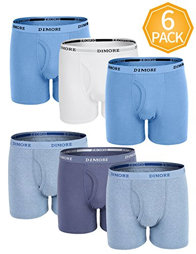 Dimore 6 Pack Cotton Stretch Boxer Briefs Underwear Shorts for Men,Large