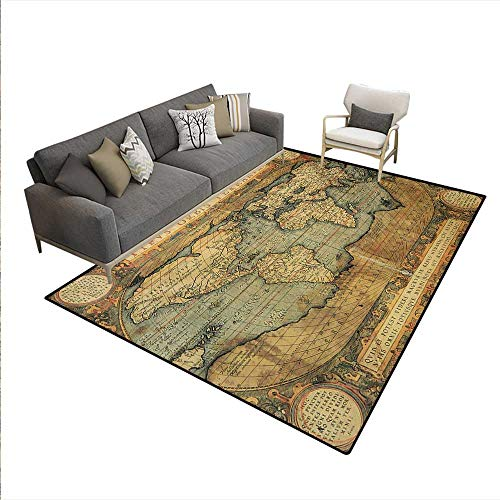 Carpet,Ancient Old Chart Vintage Reproduction 16th Century Atlas Print,Rug Kid Carpet,Sand Brown Slate Blue,6'x8'