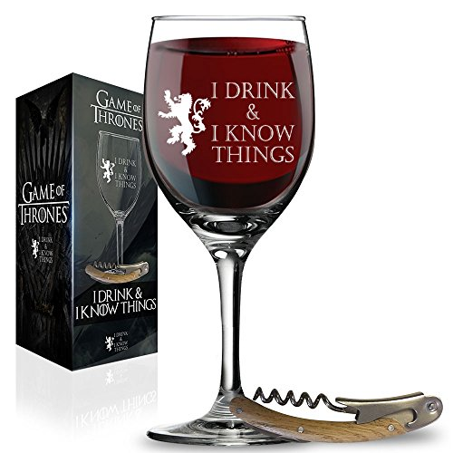 - I Drink and I Know Things Wine Glass + FREE Bottle Opener Made In Casterly Rock - Game Of Thrones Inspired - Funny Novelty Gift - With Unique Gifts box included by Desired Cart
