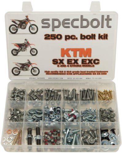 250pc Specbolt KTM SX EX EXC 2 or 4 Stroke models Bolt Kit for Maintenance & Restoration of MX Dirtbike OEM Spec Fastener. This includes 2 STROKES: 50 60 65 85 105 125 250 300 360 380 550 AND 4 (Washers Steering Box Nut)