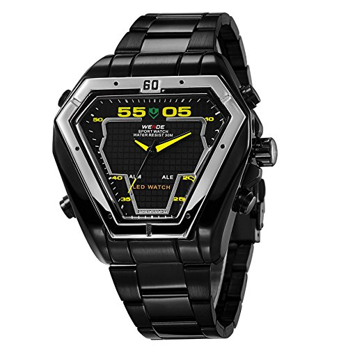 New Black Weide LCD Digital Analog Day Date Mens S/steel Waterproof Sport Watch #Black - Analog Lcd Black