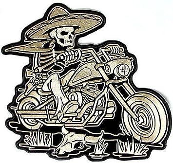 76d9d7145ec Amazon.com  Sombrero Skeleton Rider Mexican Embroidered Biker Vest ...