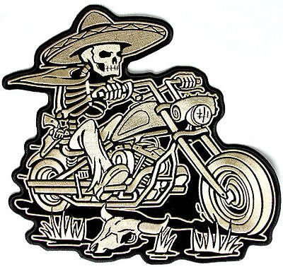 - Sombrero Skeleton Rider Mexican Embroidered Biker Vest MC BACK Patch LRG-0359