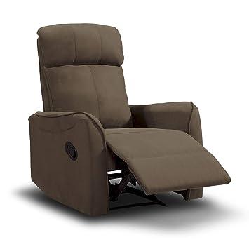 SuenosZzz Sillón Relax Repaldo y Reposapiés reclinables Charles. Tapizado Tela Jade Chocolate