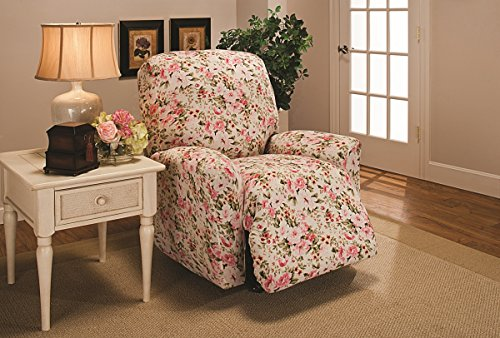Floral Slipcover - Madison Stretch Jersey Recliner Slipcover, Large, Floral, Pink