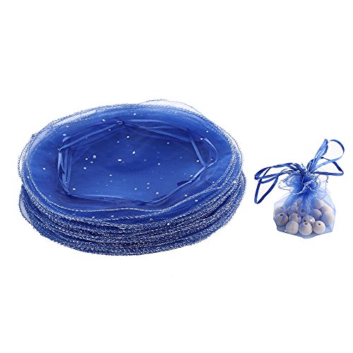 Dealglad 100pcs 25cm Round Drawstring Organza Jewelry Candy Pouch Christmas Wedding Party Favor Gift Packaging Bags (Royal Blue) ()
