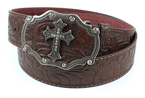 Embossed Cross Strap (Womens Embossed Pattern Brown Leather Belt Silver Cross and Black Buckle (S))