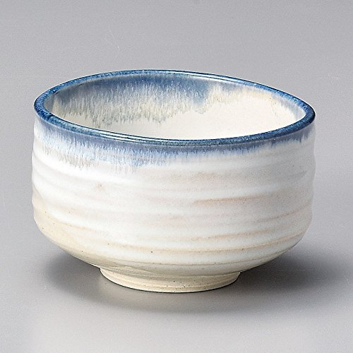 (Yamakiikai Minou Pottery Japanese Tea Bowl White & Blue Made by カネタ (Kaneta) F1725 from Japan)