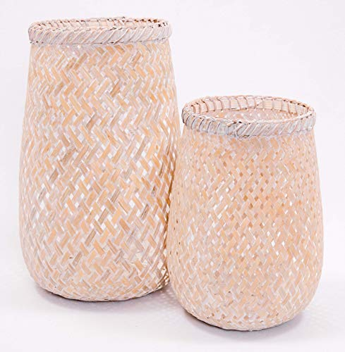 Comlinks LLC Handwoven Decorative Lantern with Matte Finish Handmade Using Natural Bamboo Material Ideal for Candle Holders, Gifts, Home Décor, (Whitewash 2 Pack) ()