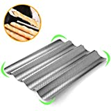 4 Slots Baguettes Baking Tray, Non Stick Perforated French Stick Baking Molds Pan, Bread Baking Mould, 38 33 2.4cm(Silver)