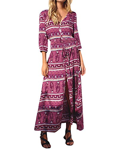 StyleDome Femme Robe Boho Longue Col V Manches Longues Casual Bouton Robe Longue de Plage Cocktail Rose