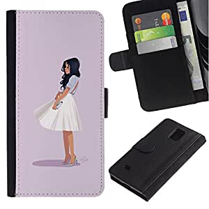 iBinBang / Flip Funda de Cuero Case Cover - Glamorous Chic Girl Outfit Fashion Skirt White - Samsung Galaxy Note 4 SM-N910