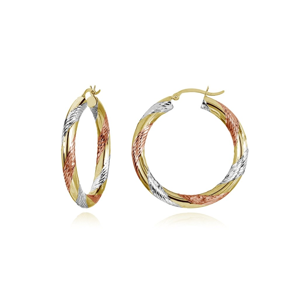 14K Gold Tri Color Polished & Diamond-Cut 4x25mm Lightweight Small Round Hoop Earrings