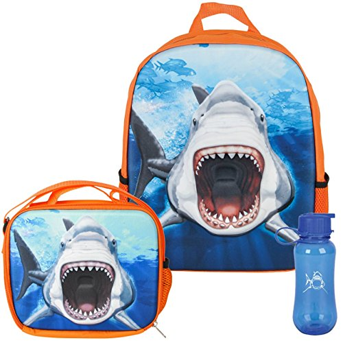 3D Great White Shark Backpack, Lunchbox, and Water Bottle Back to School