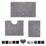 Best Bath Rugs - HOMEIDEAS 3 Pieces Bathroom Rugs Set Grey, Luxury Review