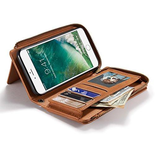 urvoix iPhone 7Plus (5,5pulgadas) cuero PU cremallera carpetas móvil/magnético desmontable Funda/ID tarjeta de crédito Dinero soporte para iPhone 7Plus