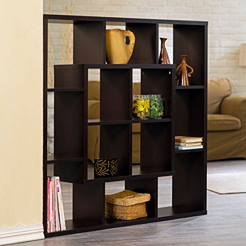 Aydan Modern Square Walnut Bookshelf/Room Divider by Furniture of America