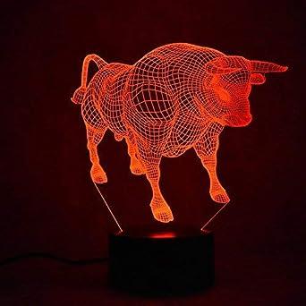 Art Lumières Déco 3d Led Lampe Décoration Taureau Lampes SqMVpzUG