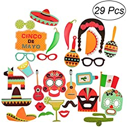 OULII Photo Booth Props Fiesta Cinco De Mayo Mexican Carnival Souvenirs for Wedding Birthday Party Favors Pack 29pcs