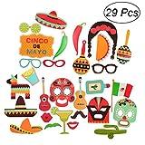BESTOYARD 29pcs Fiesta Photo Booth Props Kit Mexican Carnival Cinco De Mayo Party Supplies Favors