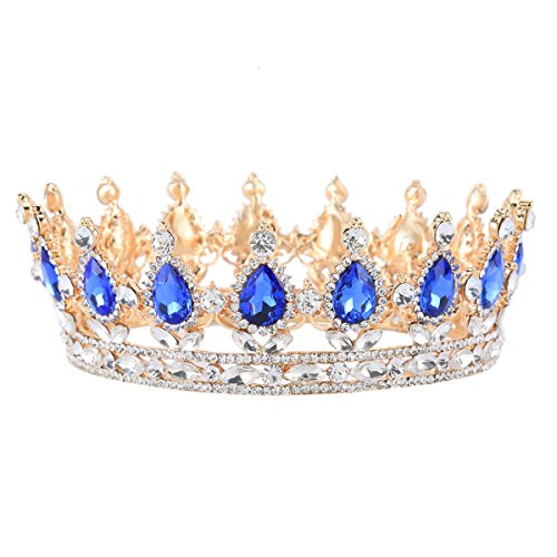Stuff Crystal Crown Tiaras Prom Party Wedding Bridesmaid Hair Piece with Bobby Pins (Gold/Sapphire)
