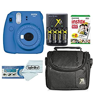 Fujifilm Instax Mini 9 Instant Film Camera With Fujifilm Instax Mini Instant Film Twin Pack (20 Sheets), Compact Bag Case, Batteries and Battery Charger