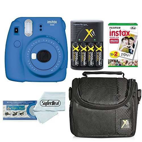 Fujifilm Instax Mini 9 Instant Film Camera Bundle with Fujifilm Instax Mini Instant Film Twin Pack (20 Sheets), Compact Bag Case, Batteries and Battery Charger by ClearMax