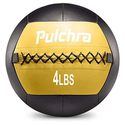 Pulchra Medicine Ball ( PU Leather & Cotton Stuffing ) Exercise Slam Weight Wall Balls for Body-Building Weight-Lossing (4LB) (Barcelona Indoor 5 Light)