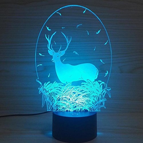 3D Deer Animal Night Light USB Touch Switch Decor Table Desk Optical Illusion Lamps 7 Color Changing Lights LED Table Lamp Xmas Home Love Brithday Children Kids Decor Toy Gift by MOLLY HIESON