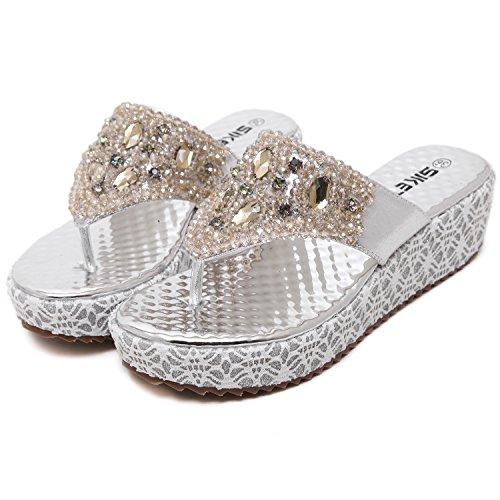 dqq Plataforma de cuentas mujer tanga sandalias de cuña Plateado - plata