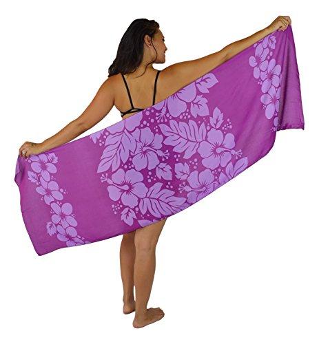 Island Style - Hibiscus Garden - Half-Sized Batik Sarong (Purple / Light Purple)