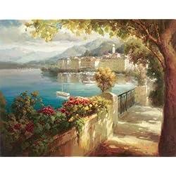 Portofino Light By Roberto Lombardi 28x22 Italy Italian Mediterranean Harbor Art Print Poster