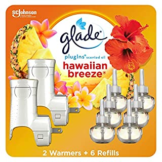 Glade PlugIns Refills Air Freshener Starter Kit, Scented Oil for Home and Bathroom, Hawaiian Breeze, 4.02 Fl Oz, 2 Warmers , 6 Refills