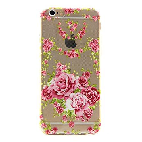 iPhone 6S Case,iPhone 6 Cover - Felfy Apple iPhone 6/6S 4.7 Zoll Ultra Slim Dünnen Weiche Soft Gel Schön Rosa Rose Blume Muster TPU Silikon Back Bumper Hülle Zurück Tasche Etui Protective + 1x Pink St