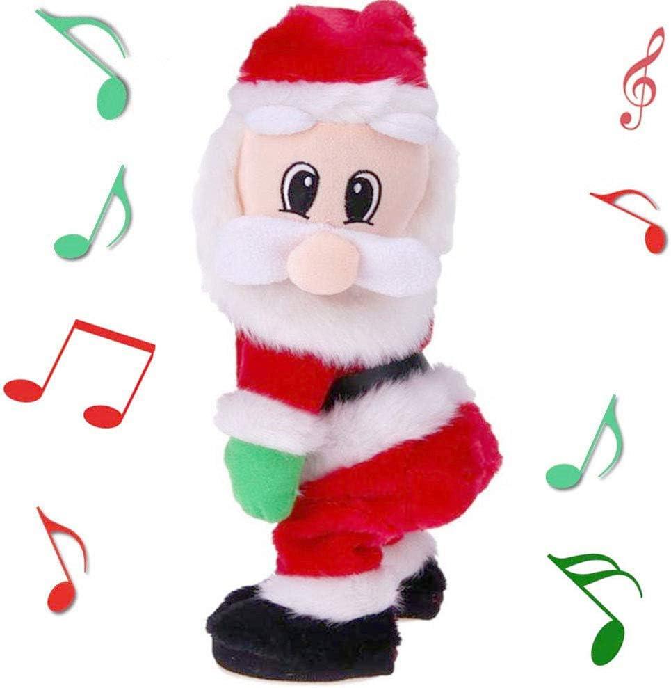 Twerking Santa Singen Divertido Papá Noel Nikolaus tanzend Santa Twisted Hip Singener Figuras regalo para niños 17 x 13,5 x 34 cm Spanisch