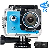 Action Camera 4K Wifi WIMIUS Q1 Ultra HD 16MP Waterproof Sports Camera 2.0 170°Wide Angle with Waterproof Case+2pcs Batteries + Full Accessories (Blue)