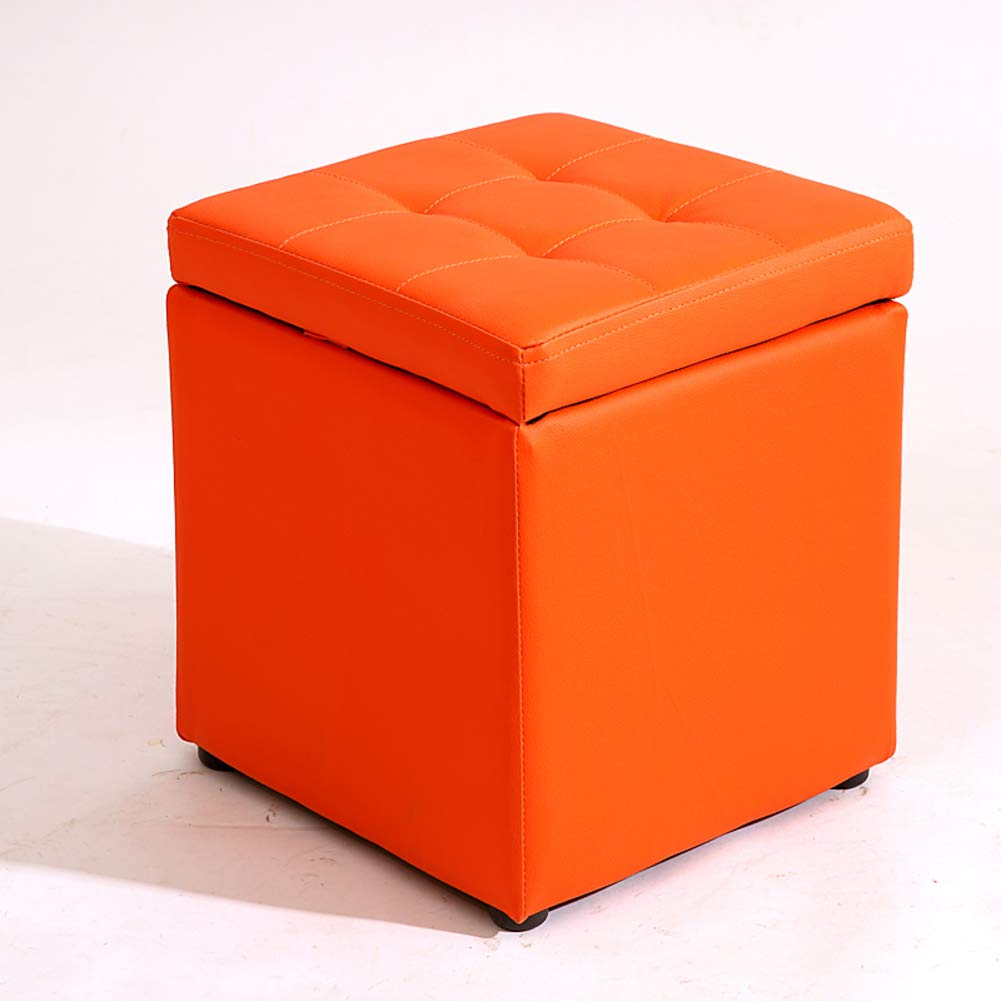 orange 30x30x35cm(12x12x14) Multi-Function Storage Stool, Square Solid color pu Storage Bench with flip Cover upholstered Storage -Black 30x30x35cm(12x12x14)