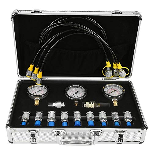 Pressure Resistance Pressure Gauge Test Point Coupling Heat Resistance Test Hose Excavator Hydraulic Pressure Test Kit with A Tool Protection Box