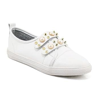 XIE Zapatos de mujer Mocasines Perla Remaches Velcro Bailarina plana Zapatillas Tamaño 35 a 44: Amazon.es: Deportes y aire libre