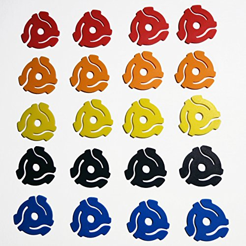"(20 Pack) Mixed Color Plastic 45 RPM 7 Inch Vinyl Record Adaptor - 7"" Inserts"