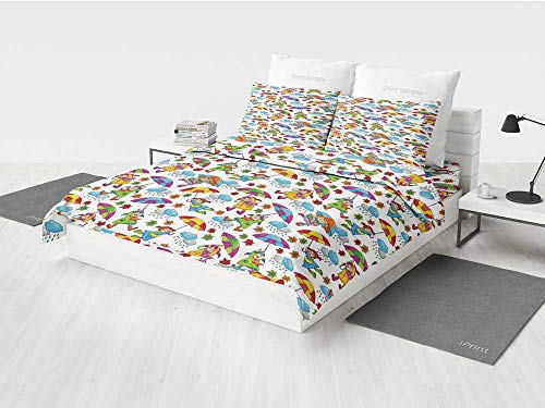 Kids Twin Girls Bedding Set Cute Girls in Coats Holding Umbrellas Windy Autumn Weather Rainy Clouds Falling Leaves Printing Four Pieces of Bedding Set Multicolor