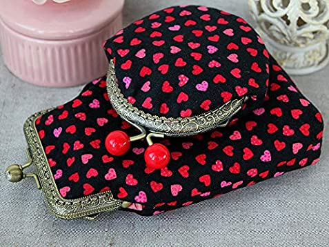 Amazon.com: Coin Purse Hearts red bobbles Metal frame change ...