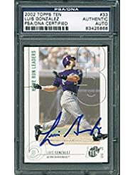 D-Backs Luis Gonzalez Signed Card 2002 Topps Ten #33 Slabbed - PSA/DNA Certified - Baseball Slabbed Autographed Cards