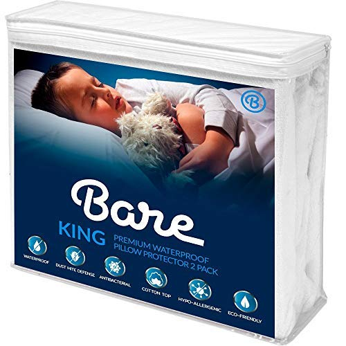 Bare Home King Size Premium Pillow Protector 2 Pack - 100% Waterproof - Vinyl Free Hypoallergenic - 10 Year Warranty - (King Pillow Size, Pack of 2)