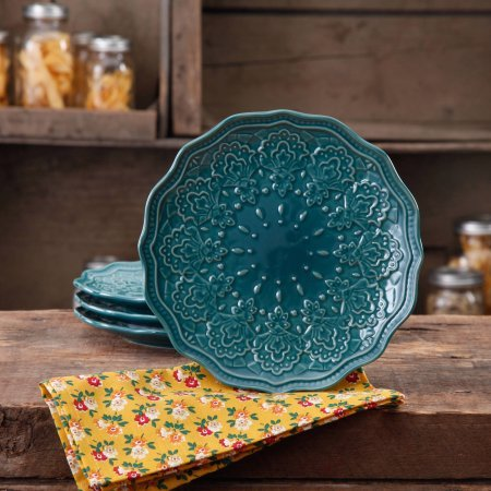 The Pioneer Woman Farmhouse Lace Salad Plate Set, 4-Pack (Blue) (Ocean Teal)