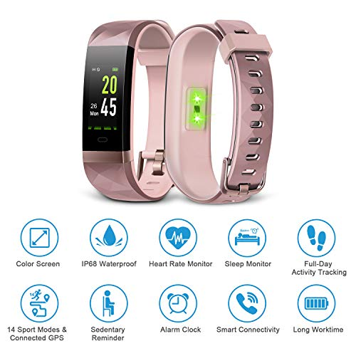 LETSCOM Fitness Tracker Color Screen, IP68 Waterproof Activity Tracker with...