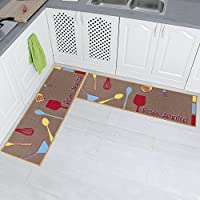 Carvapet 2 Piece Non-Slip Kitchen Mat Rubber Backing Doormat Runner Rug Set, Kitchenware Design (Brown 15x47)